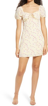 ALL IN FAVOR Floral Tie Front Minidress
