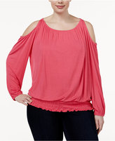 INC International Concepts Plus Size Smocked Off-The-Shoulder Top, Only at Macy's
