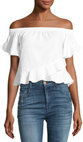 BCBGMAXAZRIA Trixy Off-the-Shoulder Ruffled Top, White
