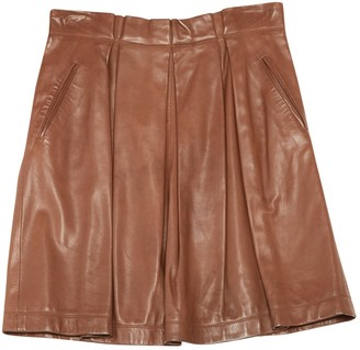Brunello Cucinelli Gunex For Brown Leather Skirt for Women