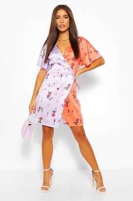 boohoo Contrast Floral Tie Waist Skater Dress