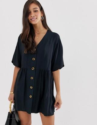 ASOS DESIGN v neck button through mini smock dress in black