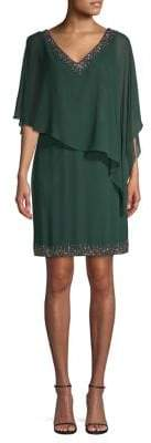 J Kara Beaded Overlay Sheath Dress
