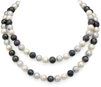 DaVonna 9-10mm Multi Dark Freshwater Pearl Endless Necklace, 48-inch