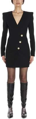Balmain Buttoned Long Sleeve Mini Dress