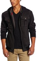 Southpole Men's Polyester Printed Stripe Full Zip Hoodie with Pocket Details