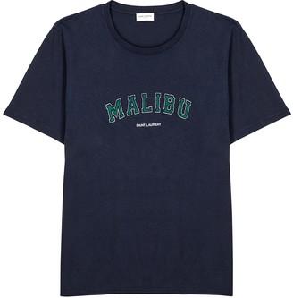 Saint Laurent Navy printed cotton T-shirt