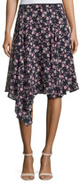 Nanette Lepore Asymmetric Floral Silk Skirt, Black/Multicolor