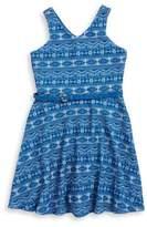Us Angels Girl's Belted Geometric Print Dress