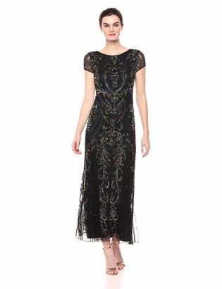 Pisarro Nights Women's Long Boat Neck Dress with Floral Beading Details