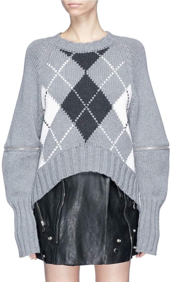Alexander McQueen Zip cocoon sleeve argyle intarsia oversized wool sweater
