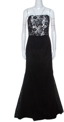 Monique Lhuillier Monochrome Floral Lace Bodice Detail Flared Strapless Gown L
