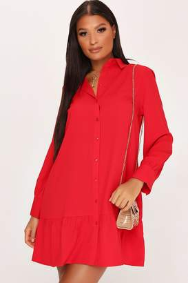 I SAW IT FIRST Red Drop Hem Shirt Dress