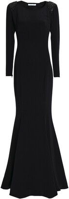 Rachel Gilbert Open-back Embellished Silk Gown
