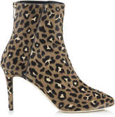 Jimmy Choo DUKE 85 Hazelnut Leopard Print Pony Almond Toe Booties