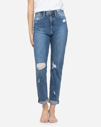Express Flying Monkey Super High Waisted Distressed Mom Jeans