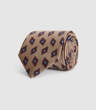 Reiss KYLE SILK DIAMOND TIE Champagne