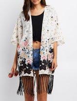 Charlotte Russe Textured Floral Fringe-Hem Kimono