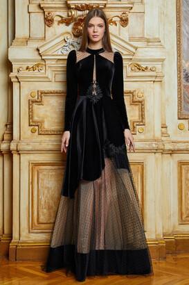 Cristallini Long Sleeve Velvet A-Line Gown