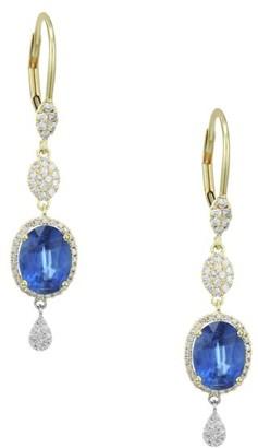 Meira T Diamond, Kyanite & 14K Yellow Gold Drop Earrings