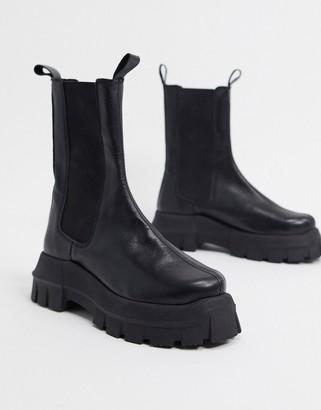 ASOS DESIGN Aqum premium leather chunky chelsea boots in black