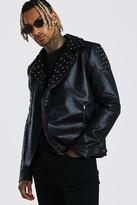 boohoo Mens Black Studded Biker Jacket Leather Look, Black