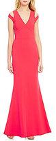 Calvin Klein V-Neck Split Sleeve Long Gown