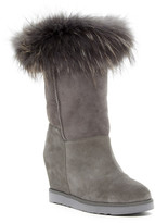 Australia Luxe Collective Foxy Tall Hidden Wedge Genuine Shearling Boot With Genuine Fox Fur Trim