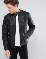 Jack and Jones Core Biker Jacket In Faux Leather