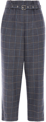Giorgio Armani Checked Wool, Mulberry Silk And Linen-blend Straight-leg Pants