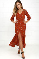 Amuse Society Kimia Rust Red Floral Print Maxi Dress