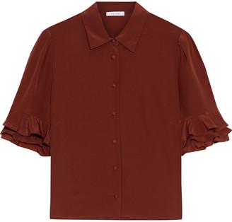 Frame Ruffle-trimmed Silk Crepe De Chine Shirt