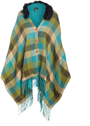 Lvs Collections LVS Collections Women's Outerwear Capes GREEN - Green Plaid Fringe Faux Fur-Collar Cape - Women
