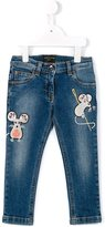 Dolce & Gabbana embroidered mouse jeans