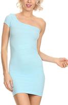 Light Blue One-Shoulder Bandage Dress