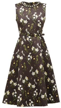 Erdem Farrah Daffodil Ditsy-print Satin Dress - Womens - Black Print