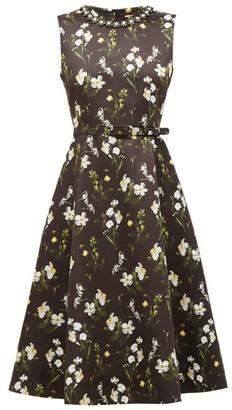 Erdem Farrah Faux Pearl-embellished Floral-print Dress - Womens - Black Print