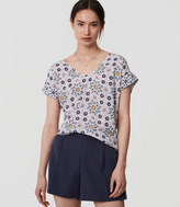 LOFT Petite Painterly Floral Mixed Media Top