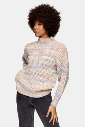 Topshop Womens Multicoloured Waffle Knitted Jumper - Multi