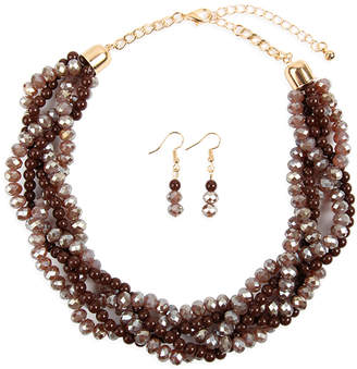 Riah Fashion Women's Earrings BROWN - Brown Crystal & Goldtone Twist Beaded Statement Necklace Set