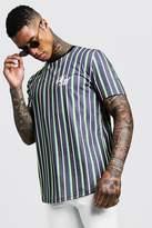 BM Embroidered Curve Hem Stripe T-Shirt