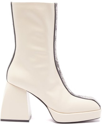 Nodaleto Bulla Corta Python-effect Panelled Leather Boots - Cream