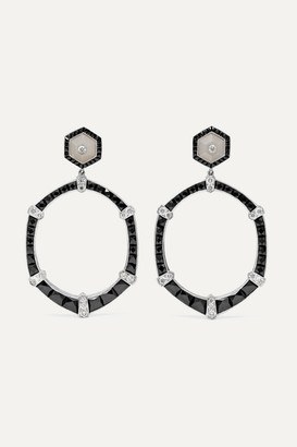 Fred Leighton Collection 18-karat White Gold, Diamond And Onyx Earrings - one size