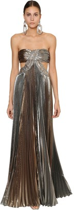 Alberta Ferretti Embellished Laminated Silk Blend Dress