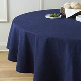 "Crate & Barrel Linden Indigo Blue 90"" Round Tablecloth"