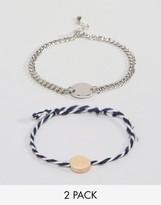 Asos Pack of 2 Stripe Disc Bracelets