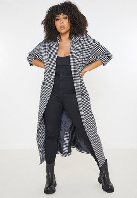 Missguided Plus Size Black Houndstooth Maxi Formal Coat