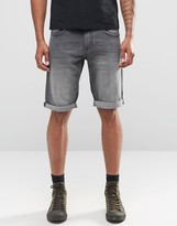 Celio Denim Shorts in Washed Black