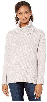 Dylan by True Grit Cloud Tipped Long Sleeve Turtleneck Drop Shoulder Pullover (Blush) Women's Clothing