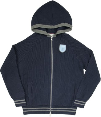 Brunello Cucinelli Cotton English Rib Knit Cardigan With Hood And Badge